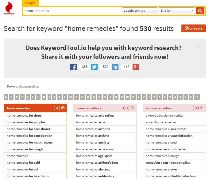 keyword tool home remedies