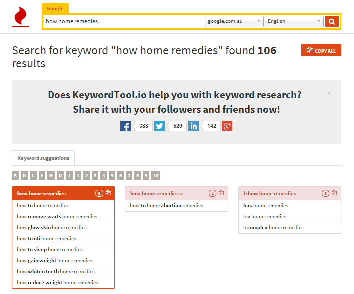 keyword tool home remedies how