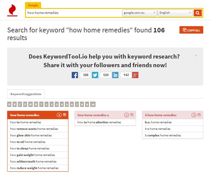 keyword tool home remedies how