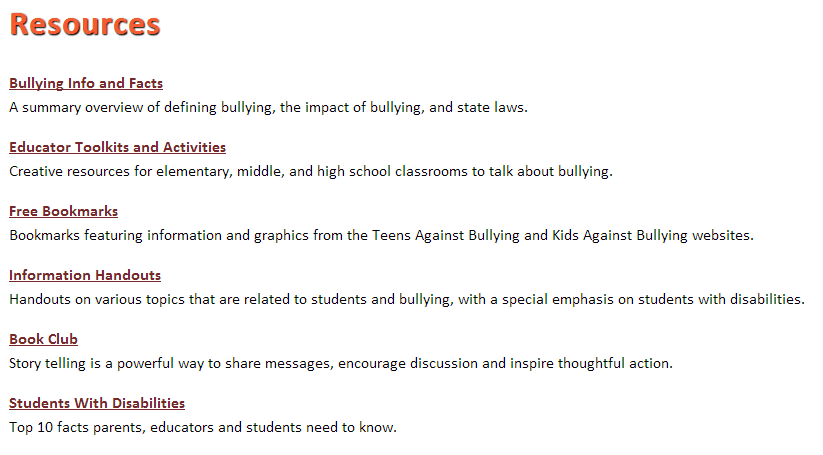 bullying-resources