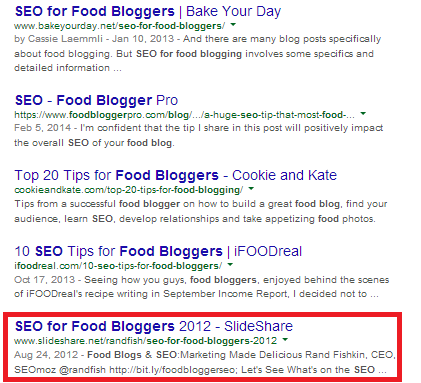 seo-for-food-blogs-search-results