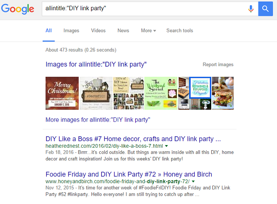 allintitle diy link party