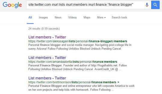 twitter list google search