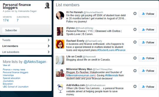 twitter list personal finance