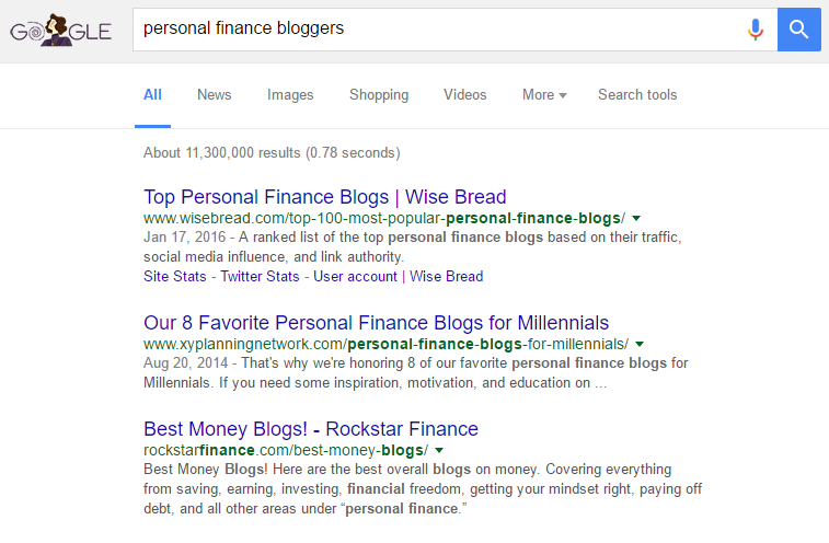 google search personal finance bloggers
