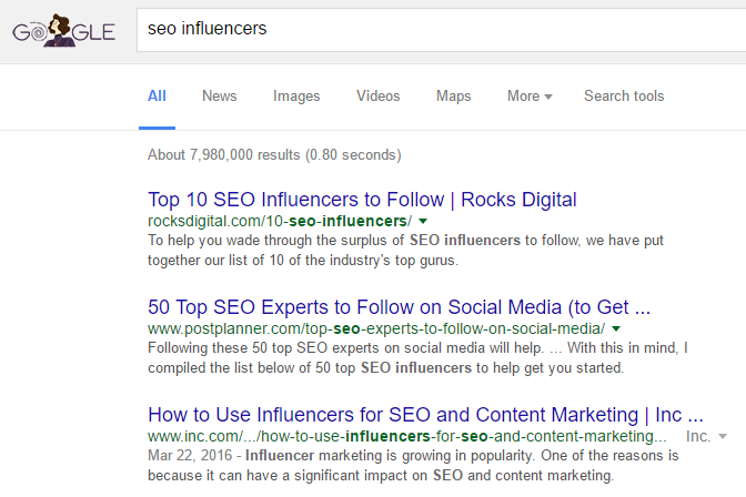 google search seo influencers