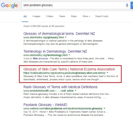 skin problem glossary search results