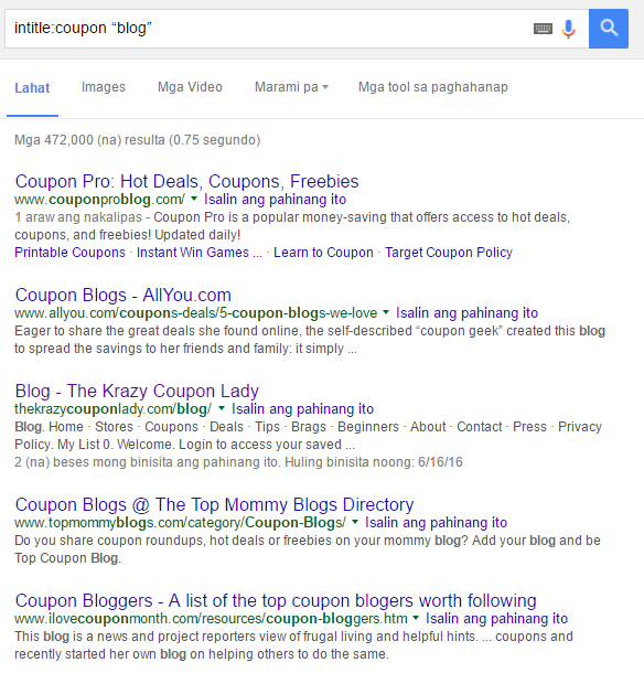 intitle coupon google search