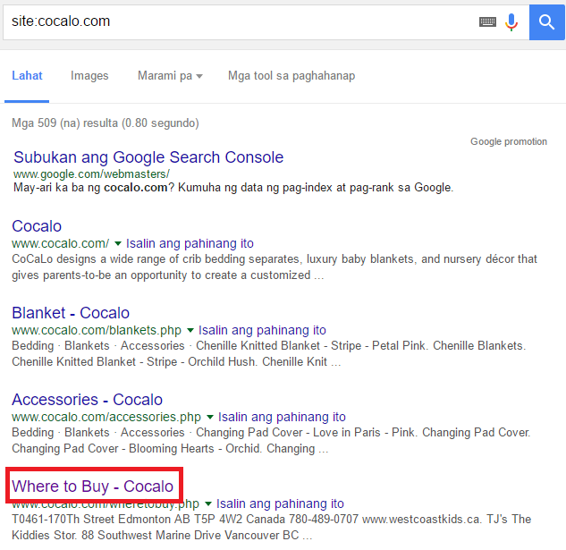 search results cocalo
