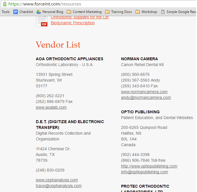 vendor list orthodontic