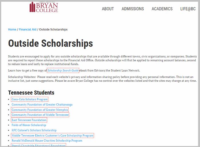 bryan college scholarship link