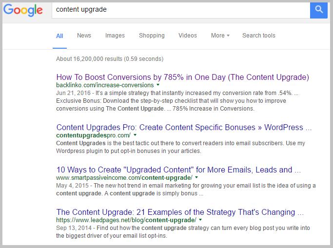 content upgrade rank