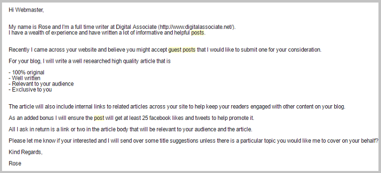guest post email spam