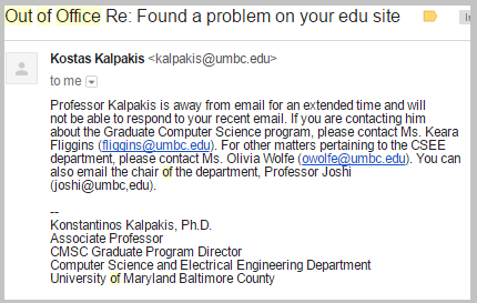 out of office email edu site