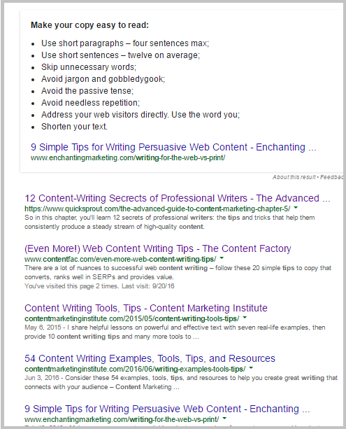 content writing tips first page