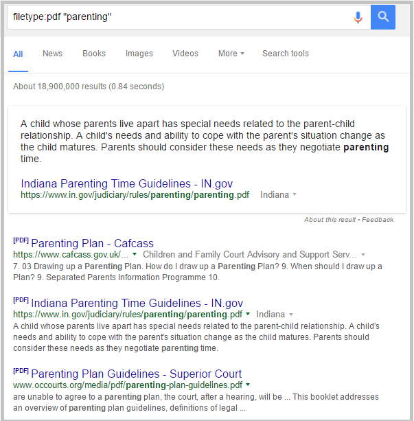 filetype parenting search results