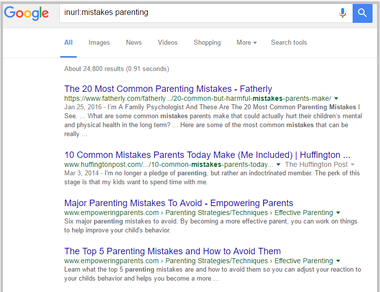 google parenting search results