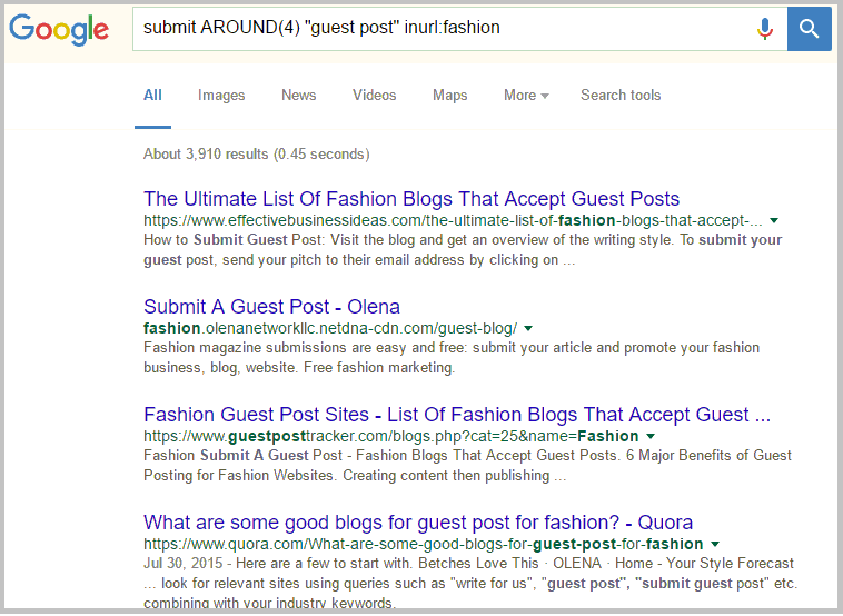 submit around google search query