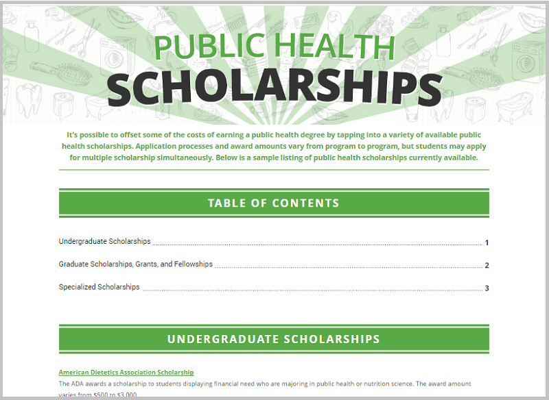 health scholarship example