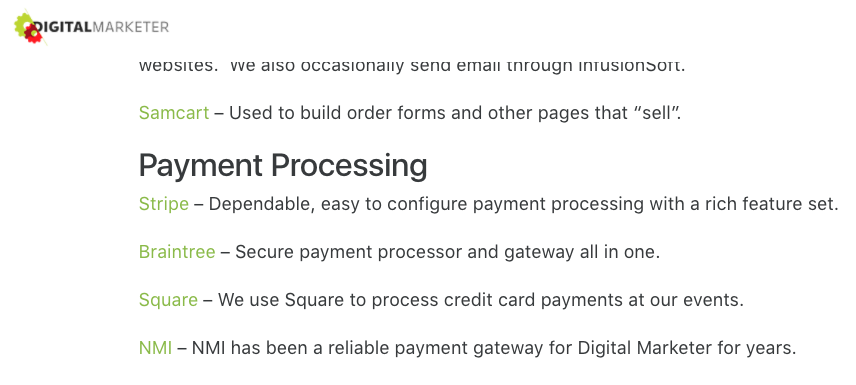digital marketer payment processing section