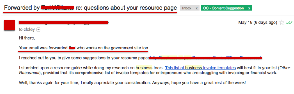 forward email government backlink