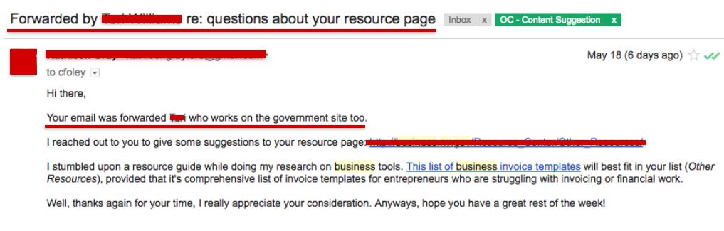 forward email government backlink