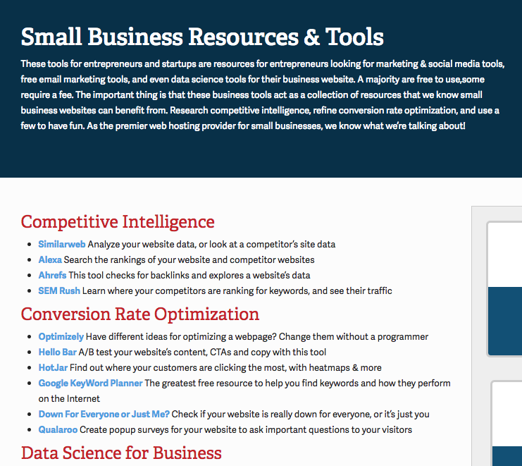 small business resources page