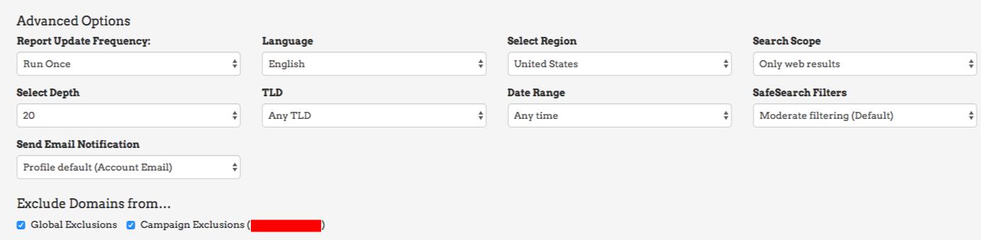advanced options link prospector