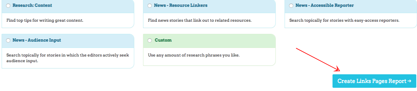 create links pages report link prospector