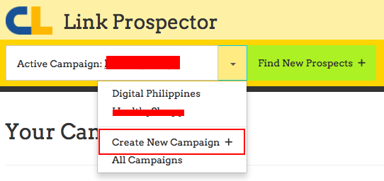 create new campaign link prospector