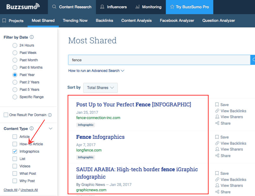 filtered infographics search results buzzsumo