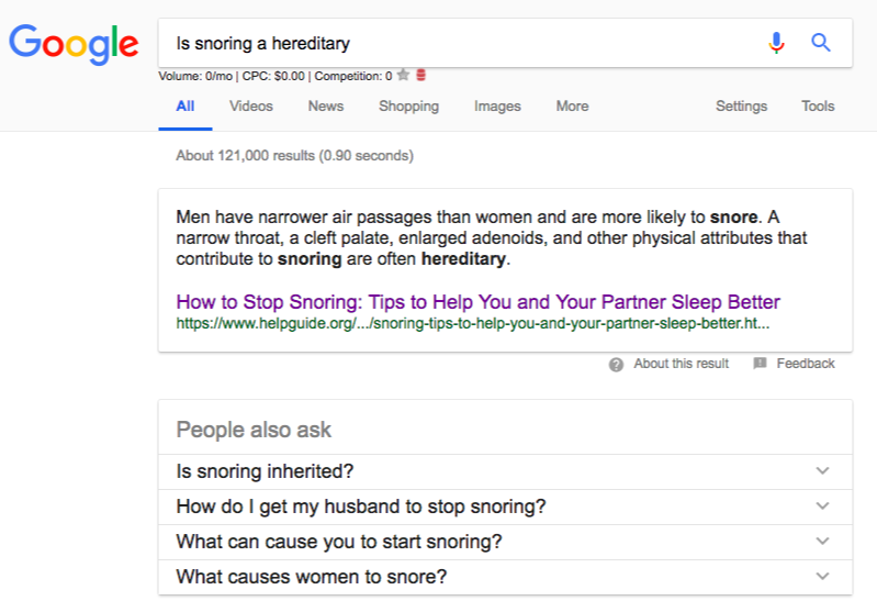 Is snoring a hereditary google search