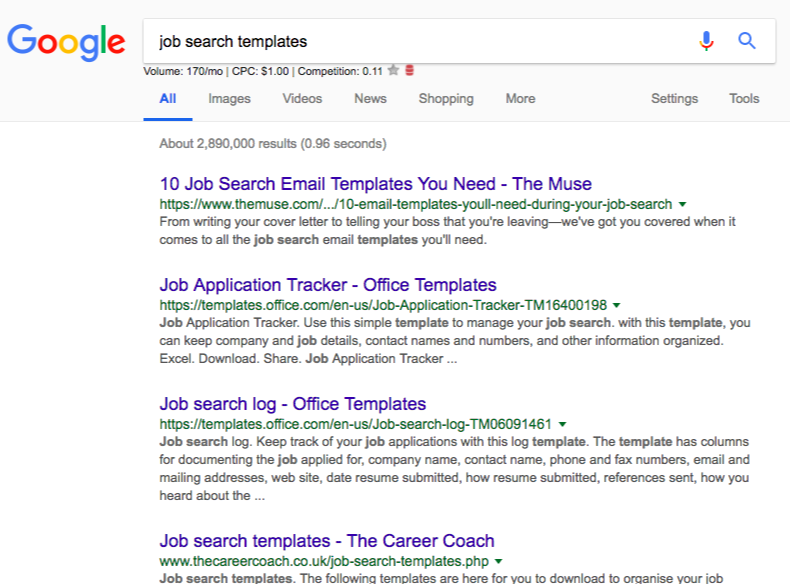 job search templates serps