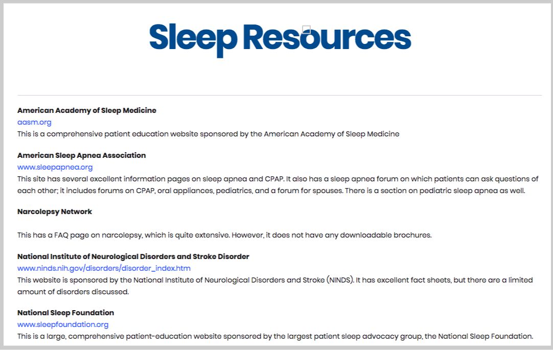 sleep resources page