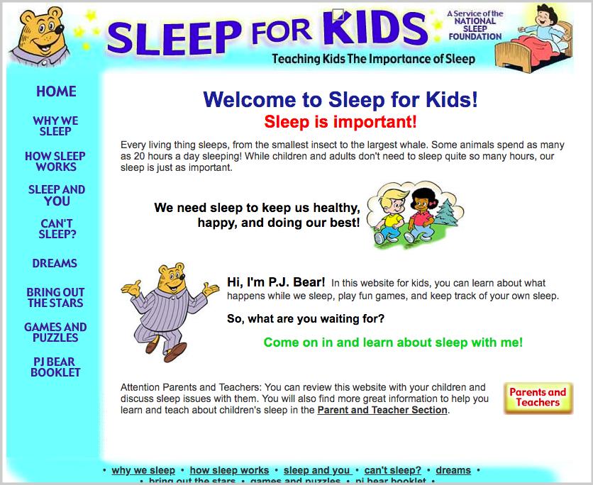 sleep for kids homepage