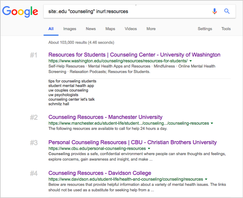 counsellling edu pages serps
