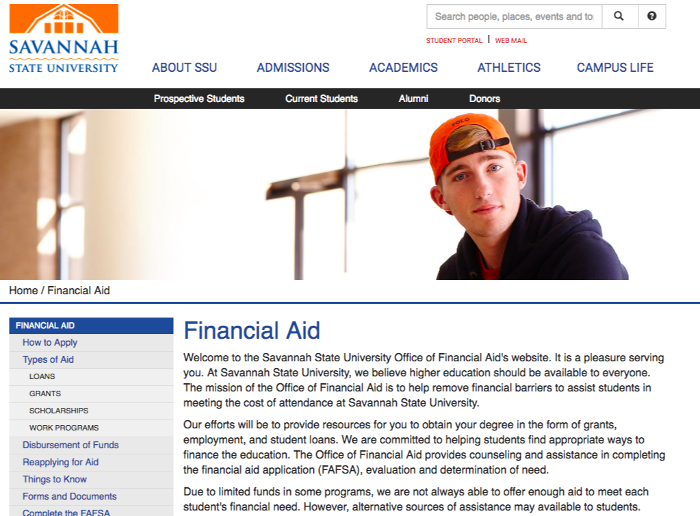 financial aid page edu website