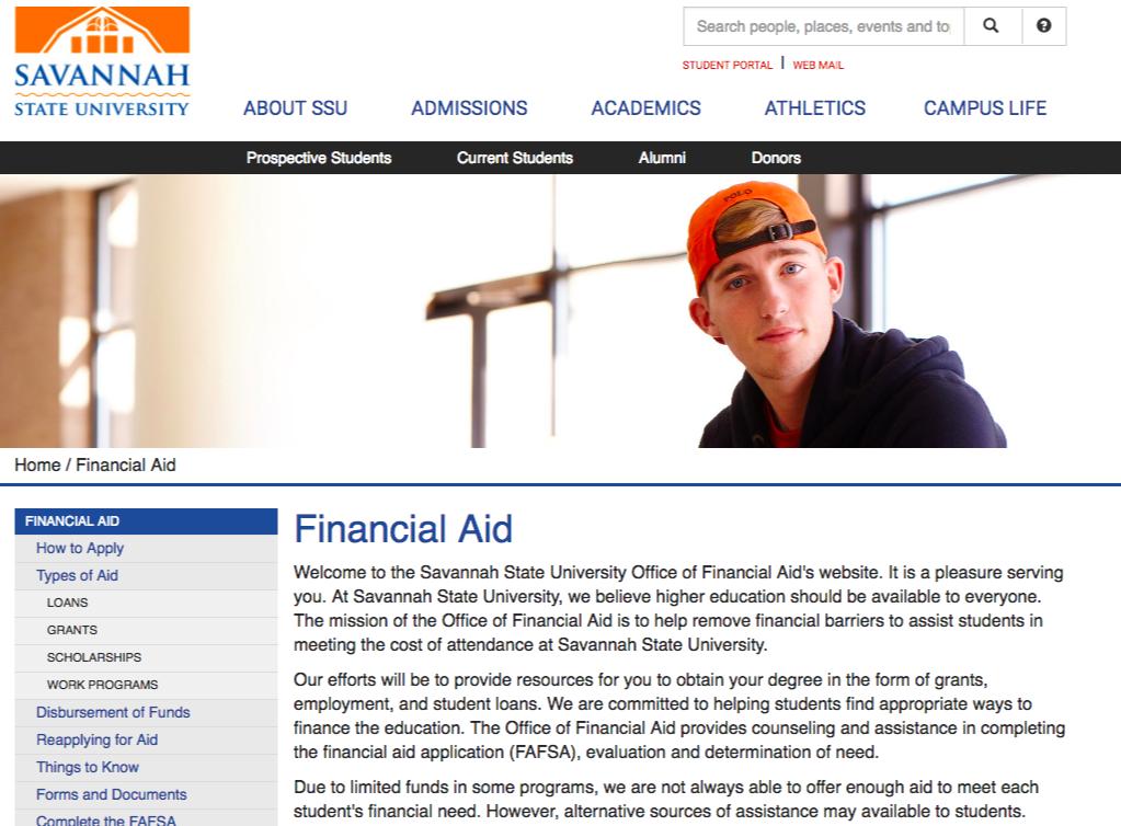 financial aid page edu website