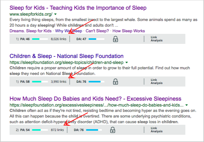 sleep for kids google search results pages