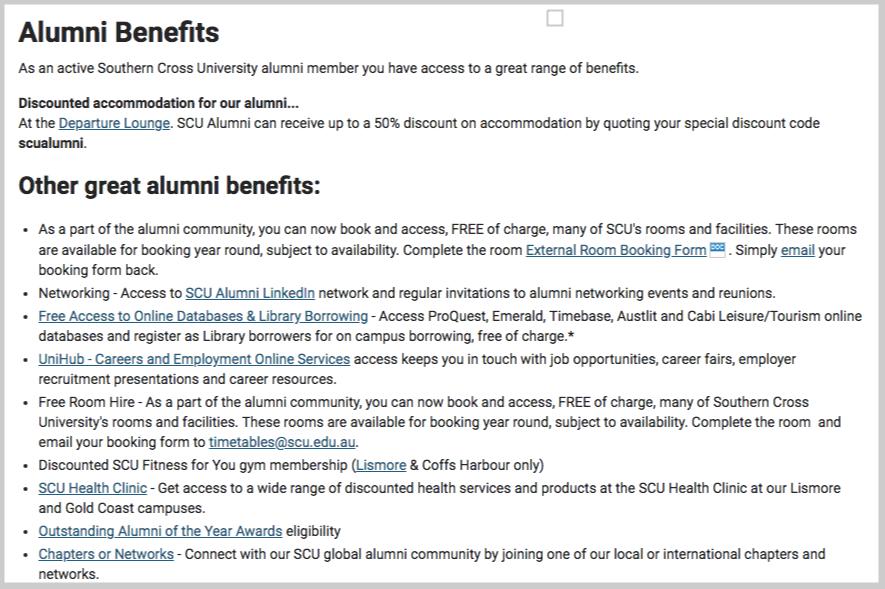 alumni benefits discounts page