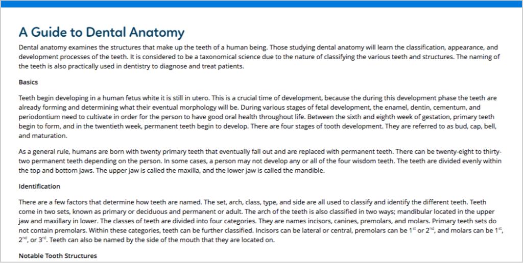 dental anatomy guide