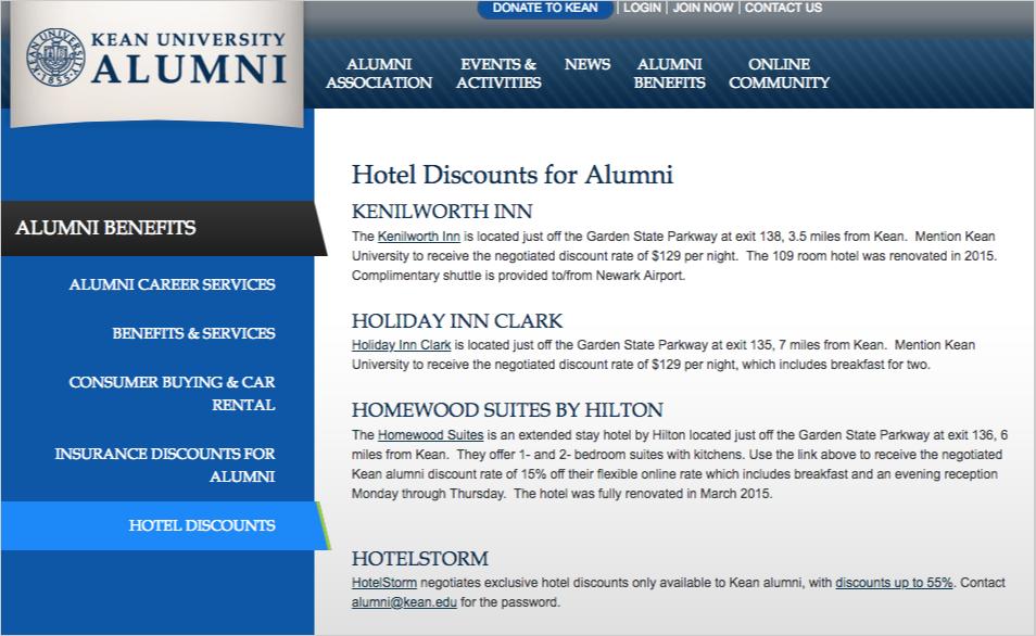 hotel alumni discounts page
