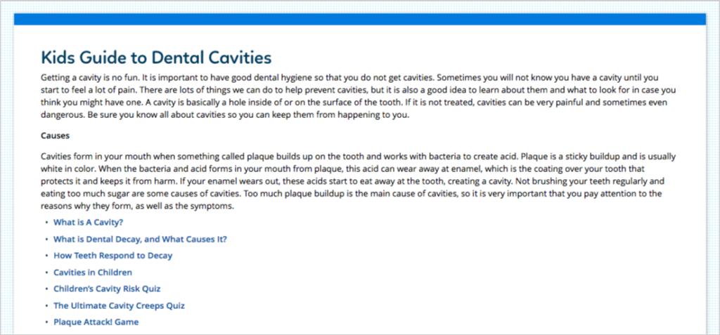 kids guide to dental cavities