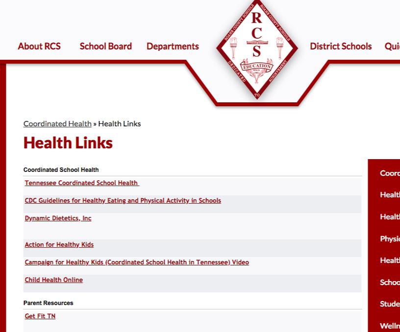kids health resource page