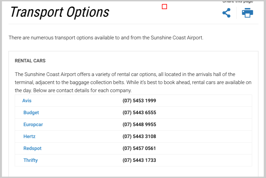transport options pages