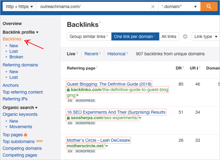 ahrefs site explorer backlinks