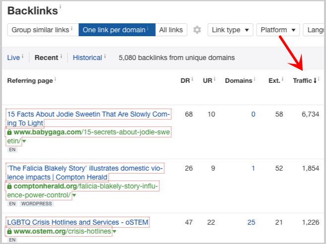 backlinks by traffic growth