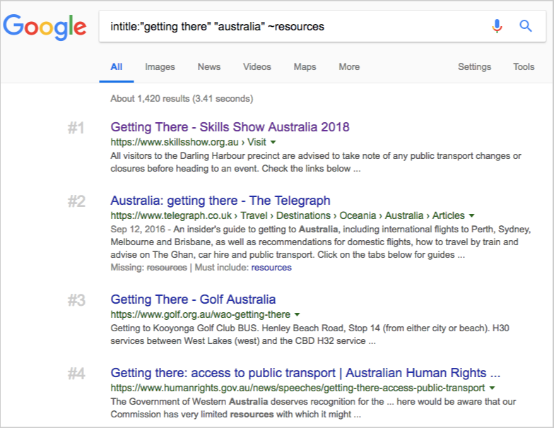 getthing there keyword search results