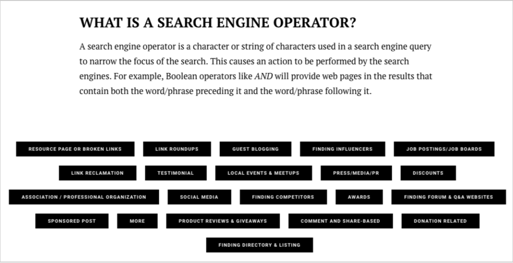 search engine queries cheatsheet