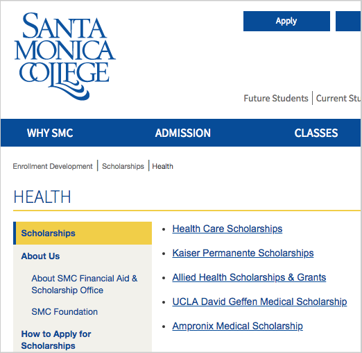 health specific scholarship links pages